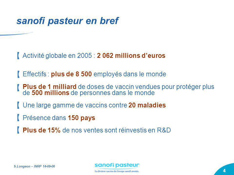 sanofi pasteur en brefActivité globale en 2005 : 2 062 millions d'euros. Effectifs : plus de 8 500 employés dans le monde.