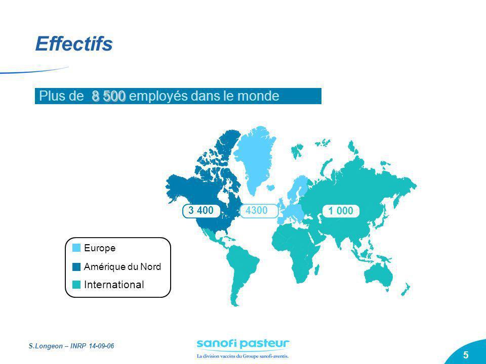 Effectifs Plus de 8 500 employés dans le monde International 3 400