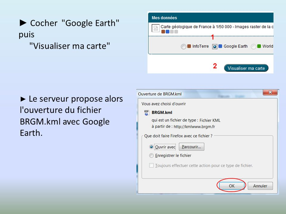 ► Cocher Google Earth puis Visualiser ma carte