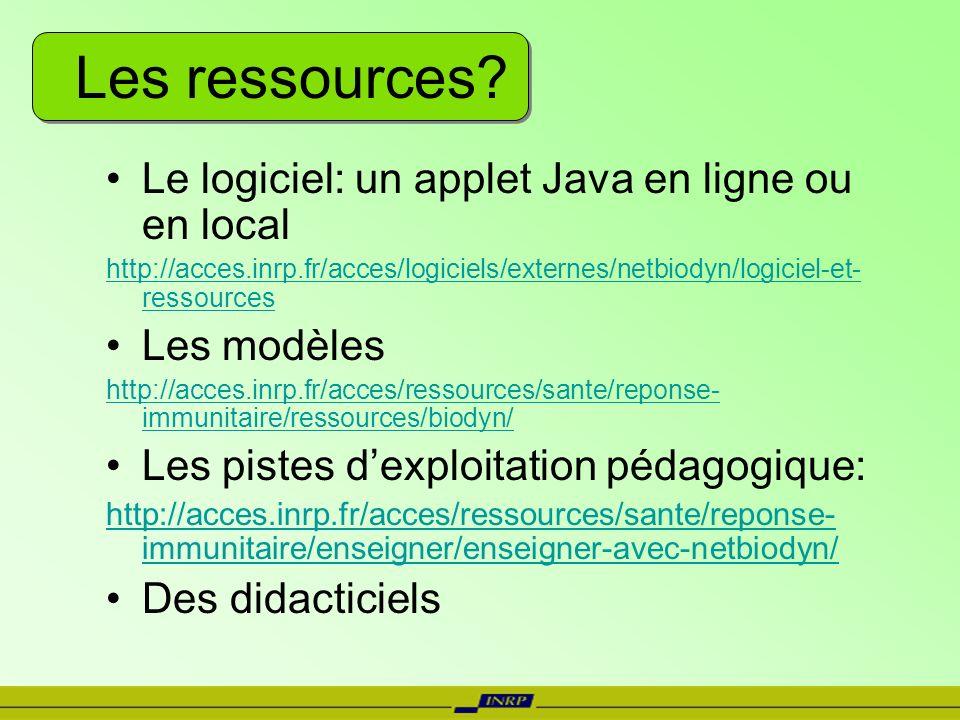 Les ressources Le logiciel: un applet Java en ligne ou en local