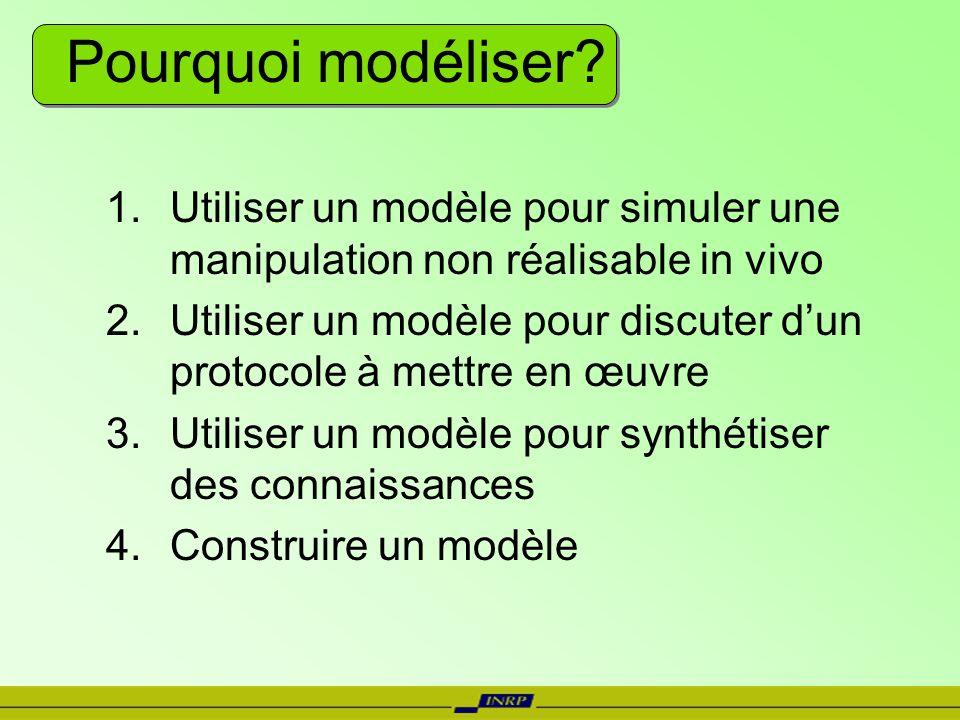 Pourquoi modéliser Utiliser un modèle pour simuler une manipulation non réalisable in vivo.