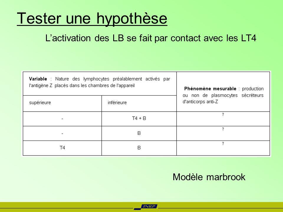 Tester une hypothèse L'activation des LB se fait par contact avec les LT4. Conditions exp / résultats attendus.