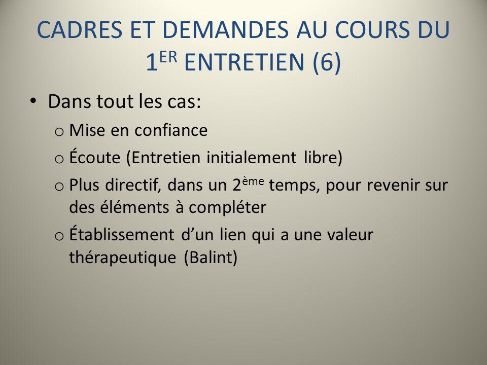 CADRES ET DEMANDES AU COURS DU 1ER ENTRETIEN (6)