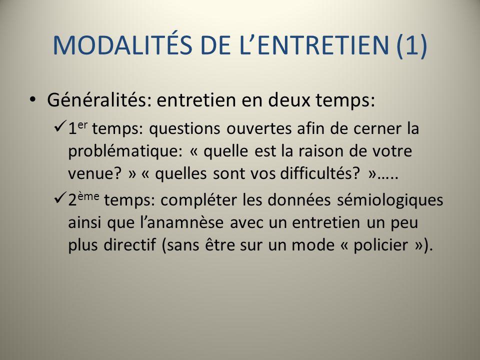 MODALITÉS DE L'ENTRETIEN (1)