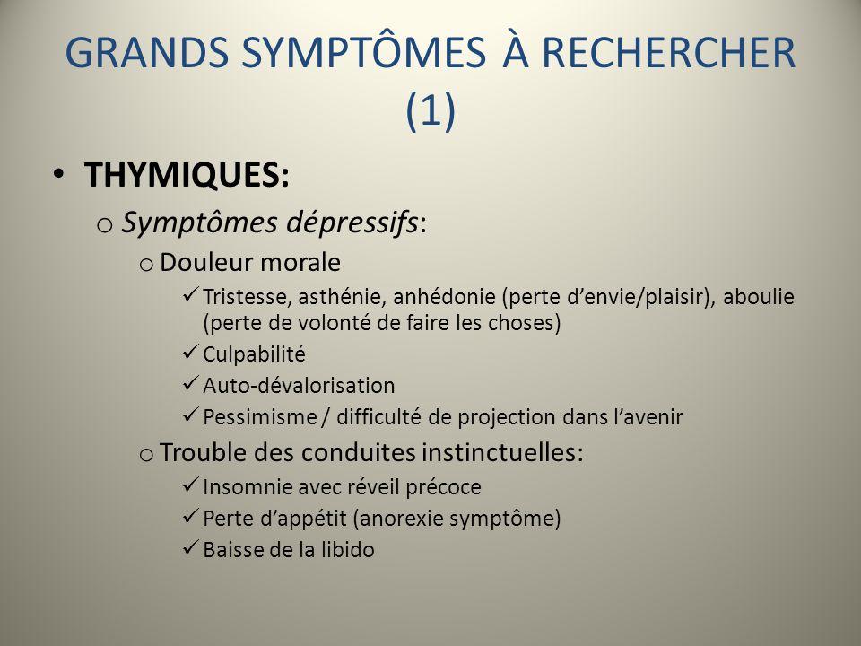 GRANDS SYMPTÔMES À RECHERCHER (1)