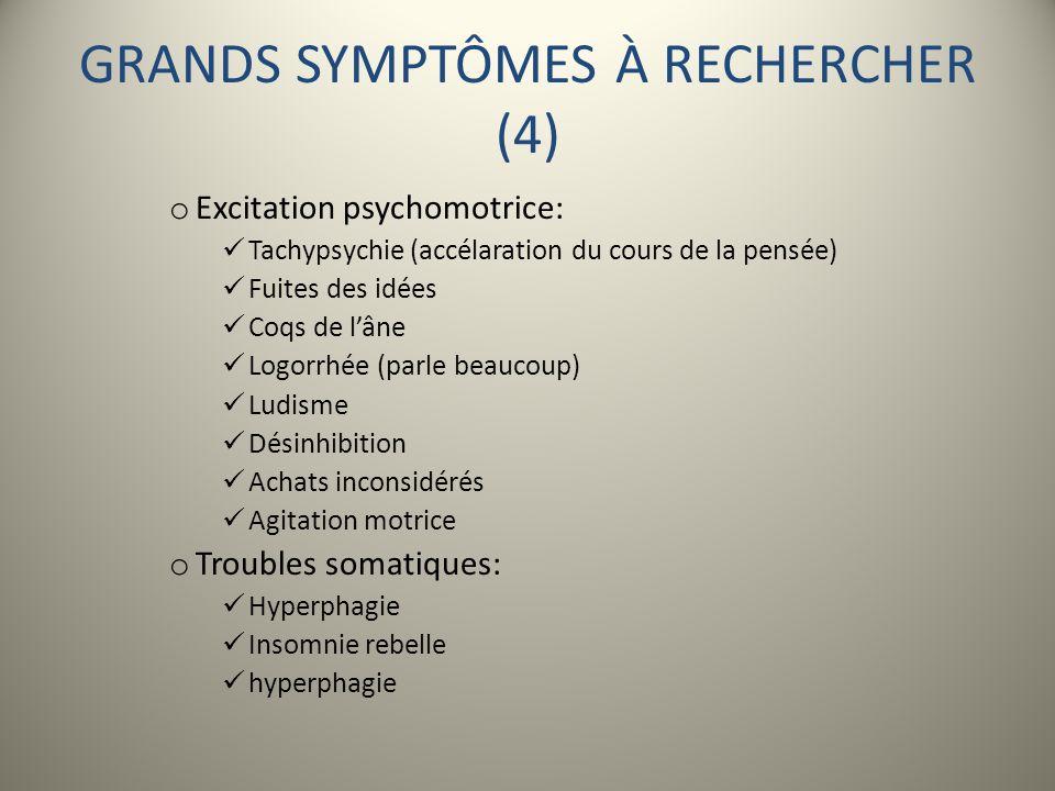 GRANDS SYMPTÔMES À RECHERCHER (4)