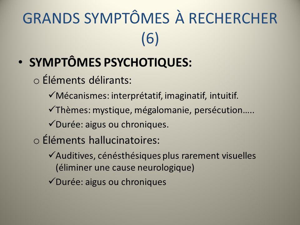 GRANDS SYMPTÔMES À RECHERCHER (6)
