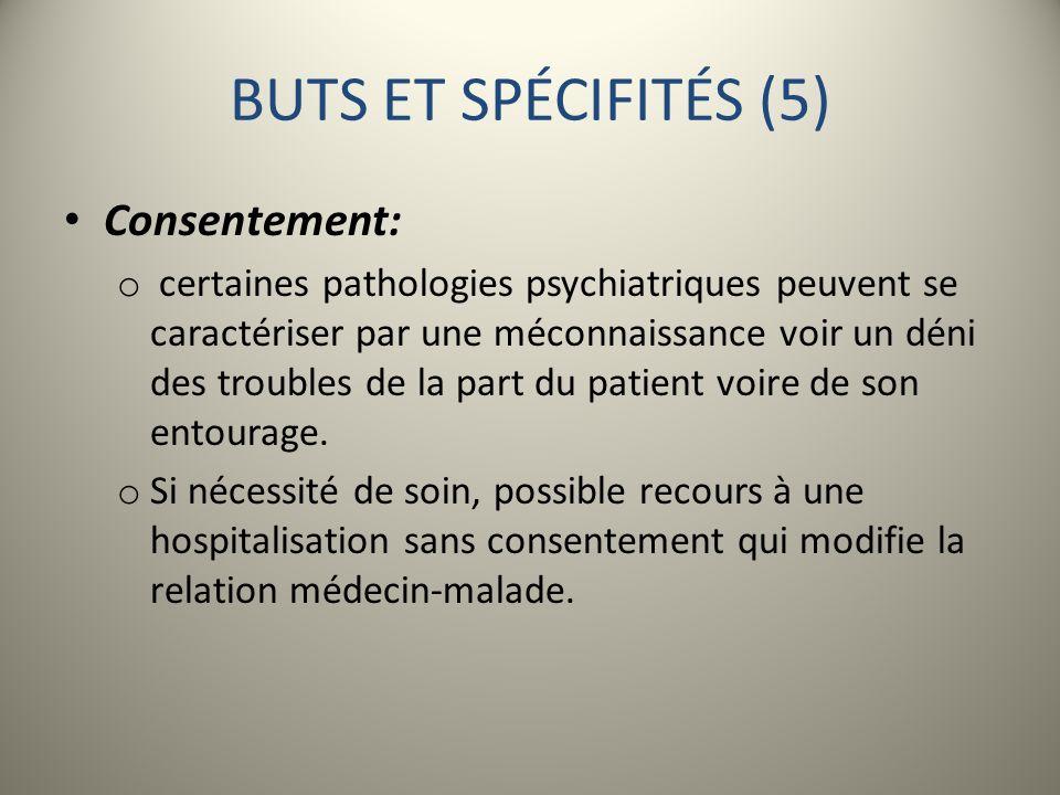 BUTS ET SPÉCIFITÉS (5) Consentement: