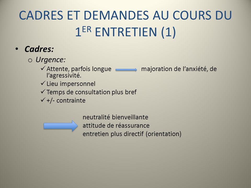 CADRES ET DEMANDES AU COURS DU 1ER ENTRETIEN (1)