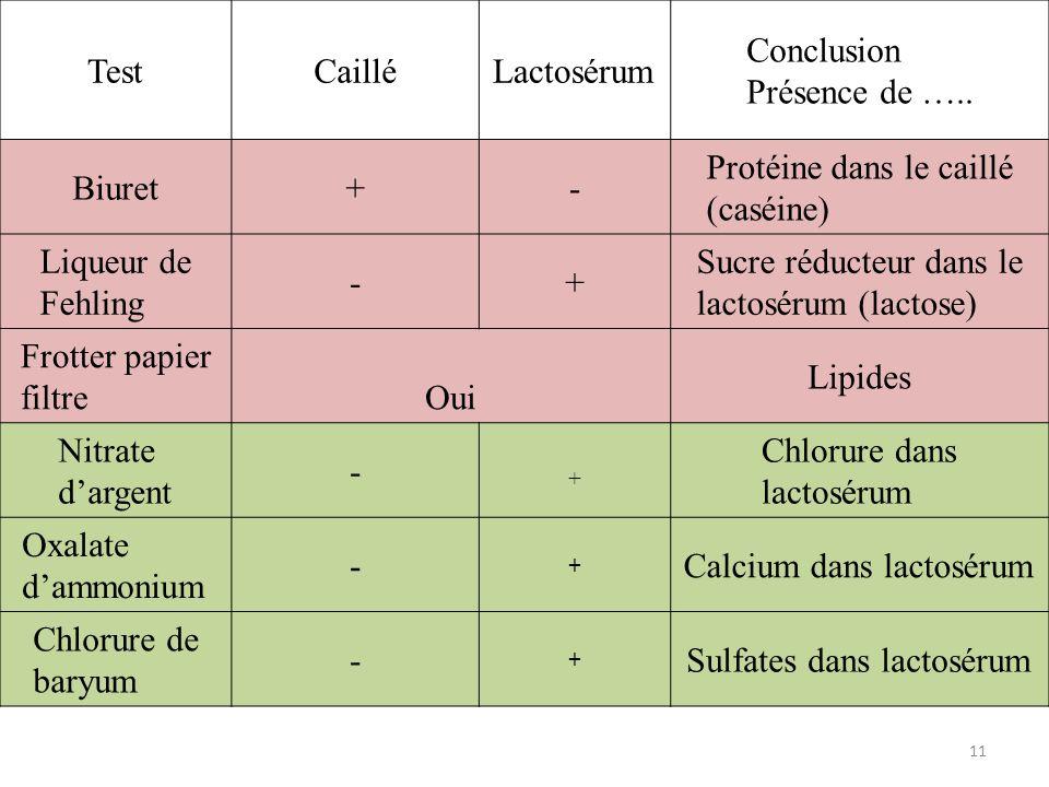 Test Caillé. Lactosérum. Conclusion. Présence de ….. Biuret. + - Protéine dans le caillé (caséine)
