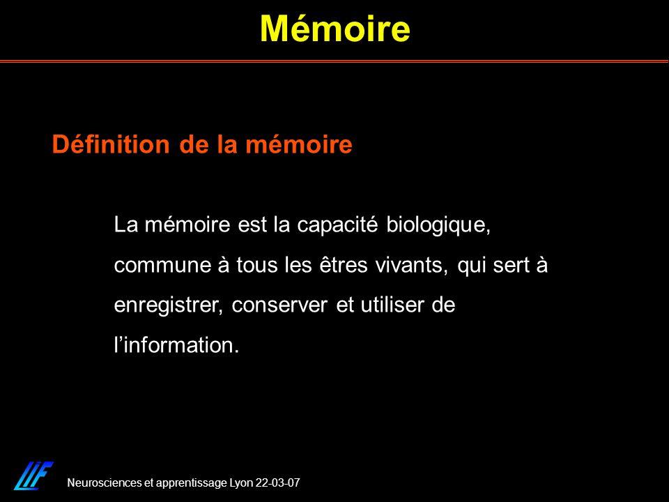 Mémoire Définition de la mémoire