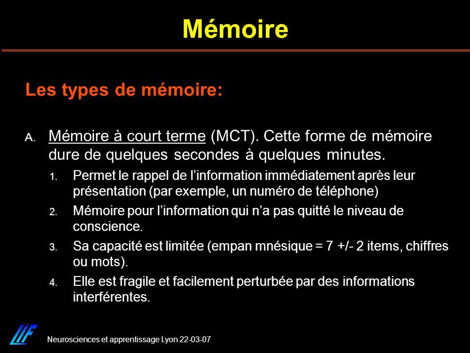 Mémoire Les types de mémoire: