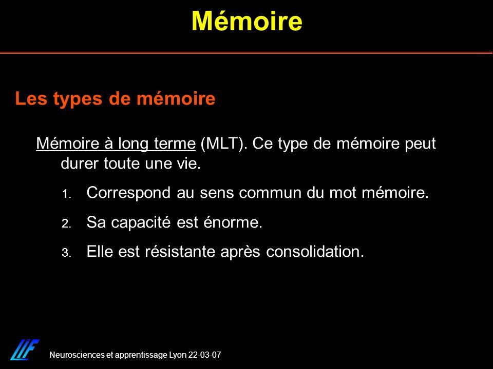 Mémoire Les types de mémoire