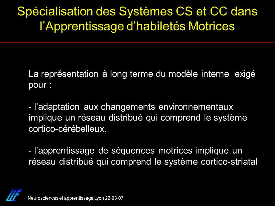Spécialisation des Systèmes CS et CC dans l'Apprentissage d'habiletés Motrices