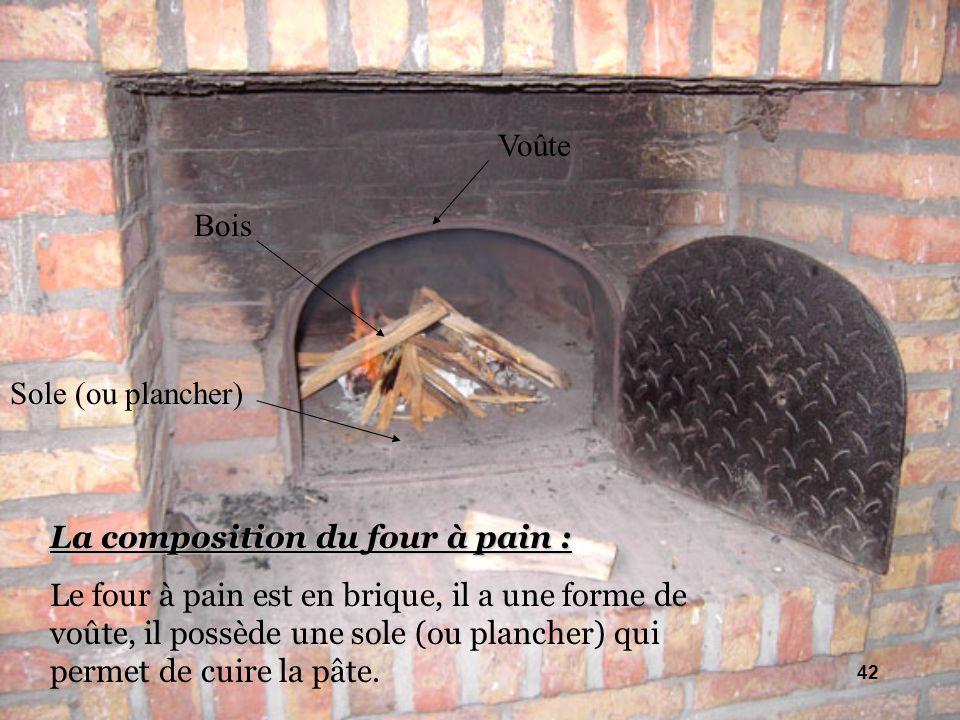 Voûte Bois. Sole (ou plancher) La composition du four à pain :