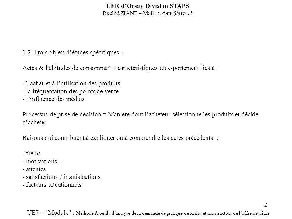 UFR d'Orsay Division STAPS Rachid ZIANE – Mail :