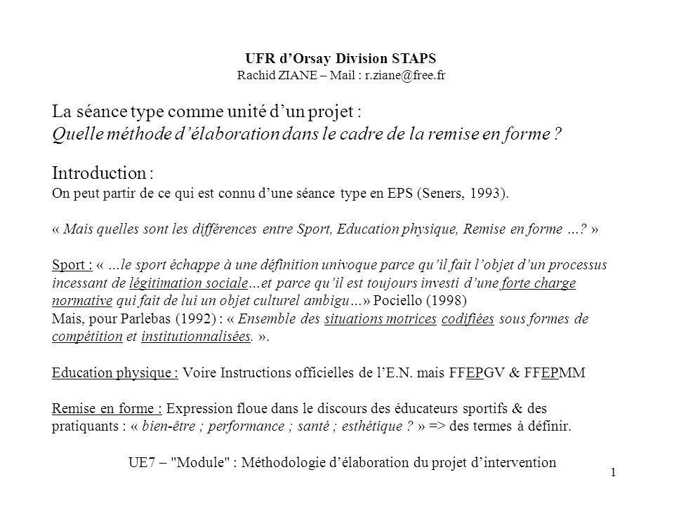 UE7 – Module : Méthodologie d'élaboration du projet d'intervention