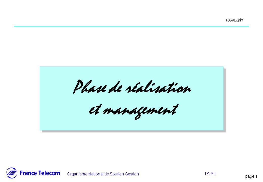 Phase de réalisation et management