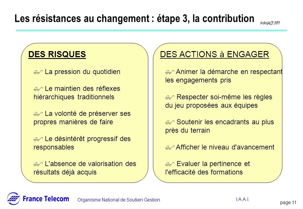 Les résistances au changement : étape 3, la contribution