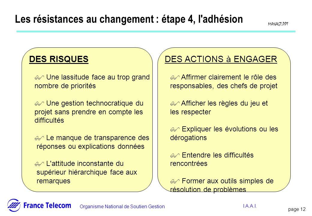 Les résistances au changement : étape 4, l adhésion