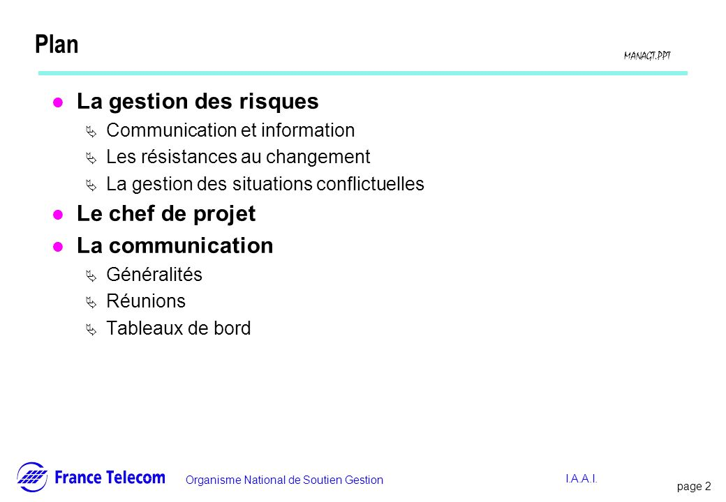 Plan La gestion des risques Le chef de projet La communication