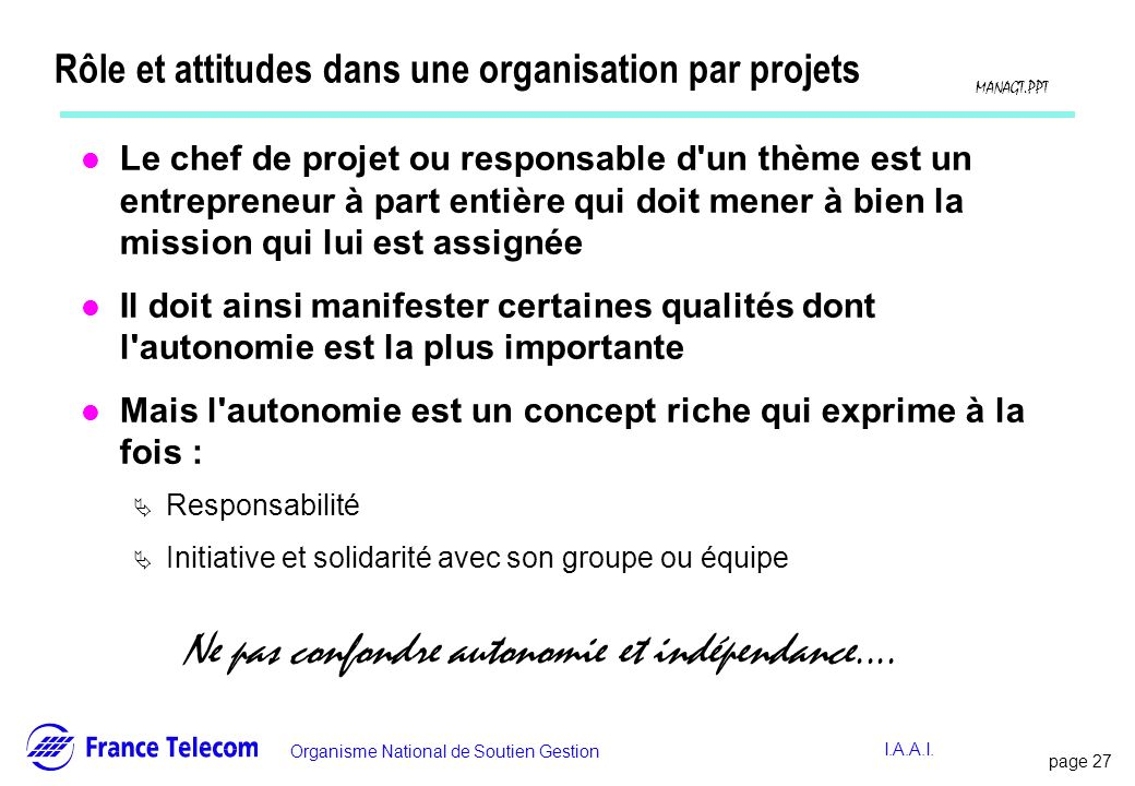 Rôle et attitudes dans une organisation par projets