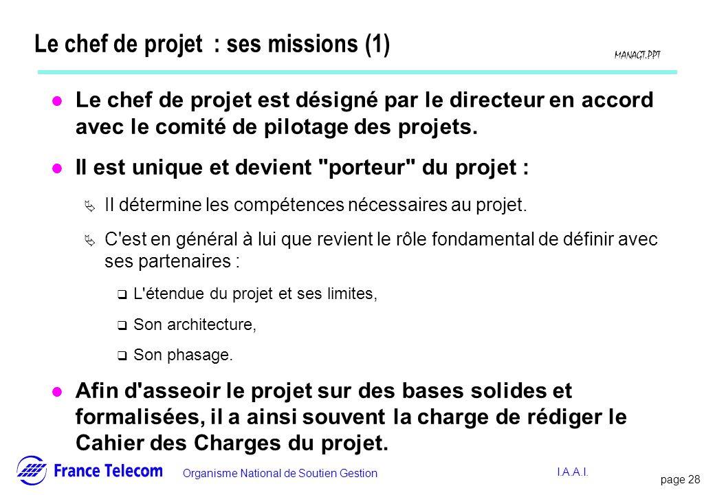 Le chef de projet : ses missions (1)