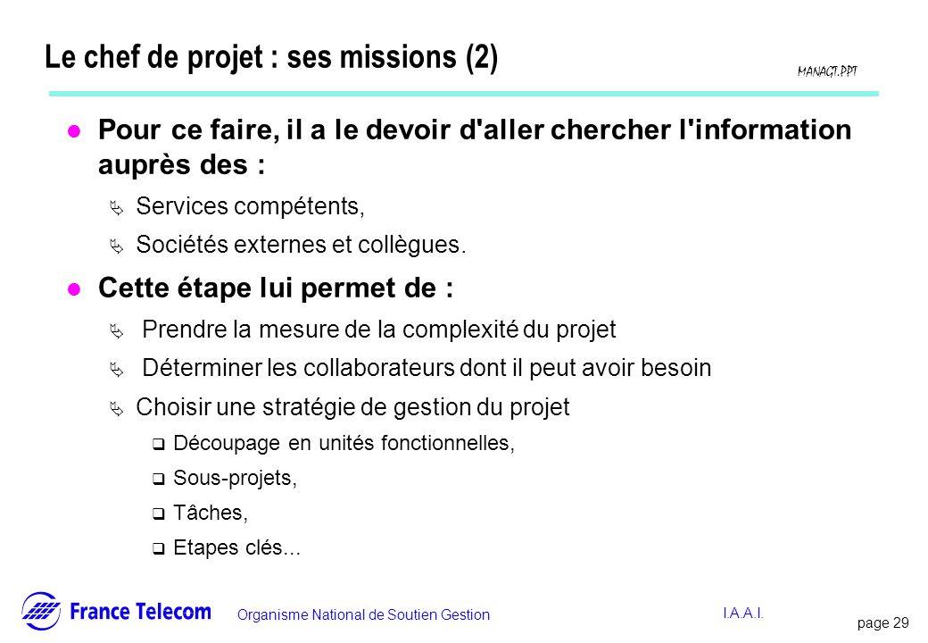 Le chef de projet : ses missions (2)