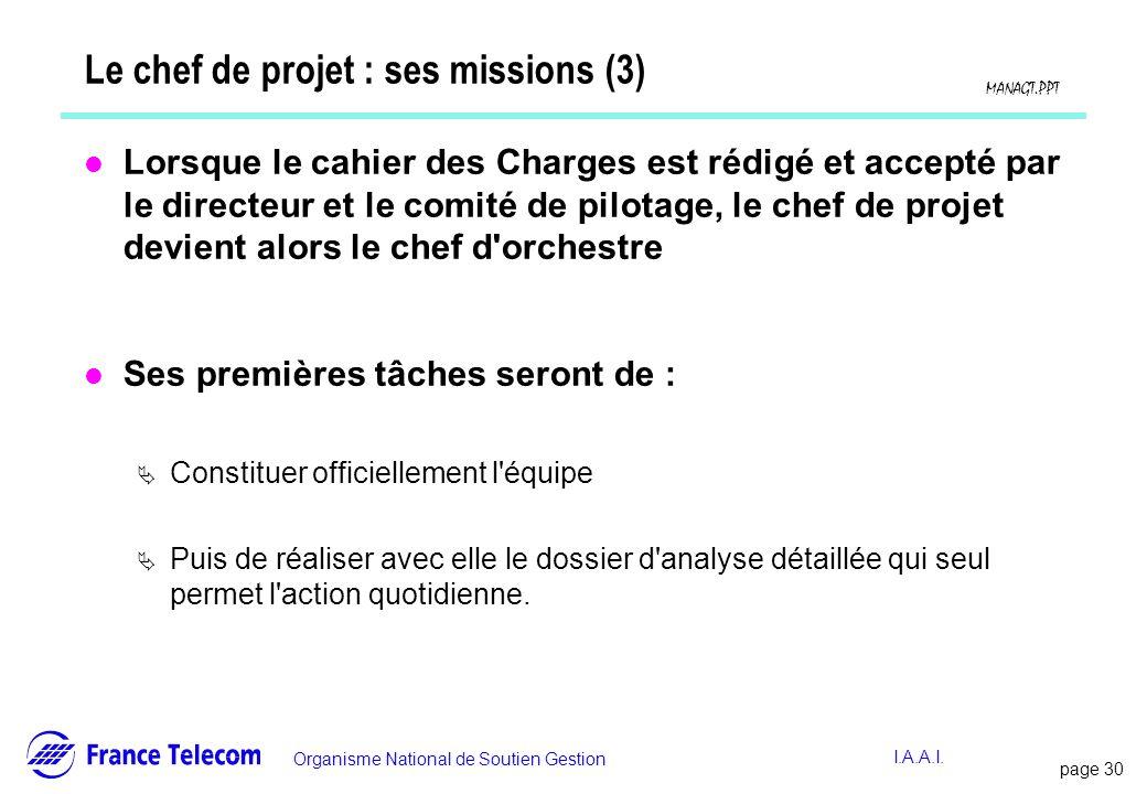 Le chef de projet : ses missions (3)