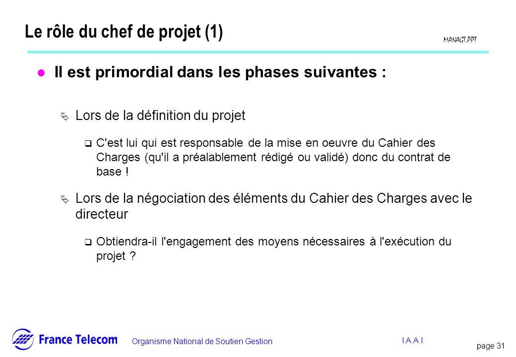 Le rôle du chef de projet (1)