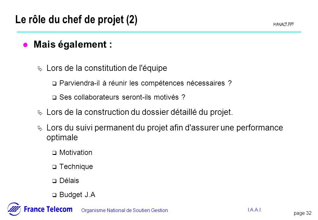 Le rôle du chef de projet (2)