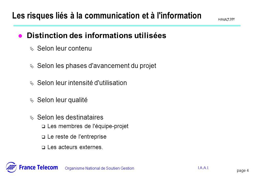 Les risques liés à la communication et à l information