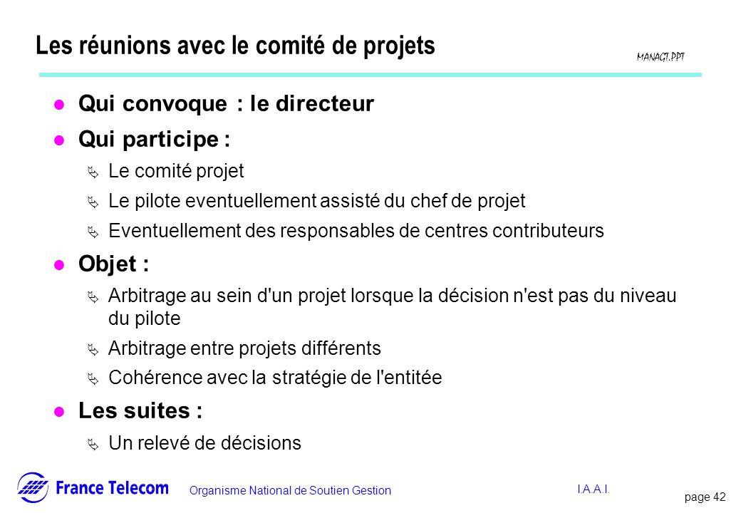 Les réunions avec le comité de projets