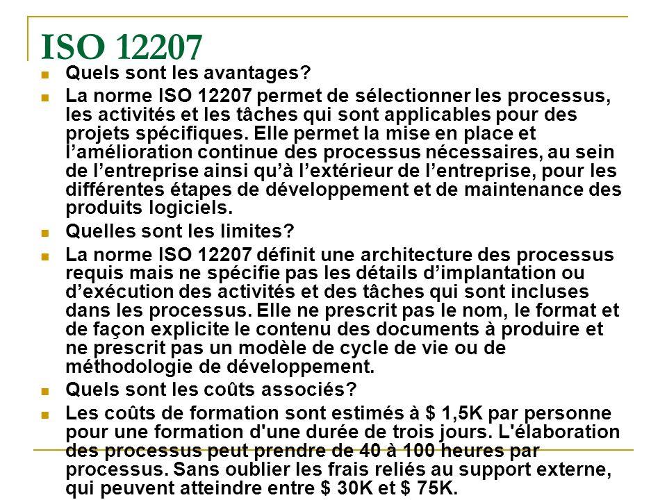 ISO 12207 Quels sont les avantages