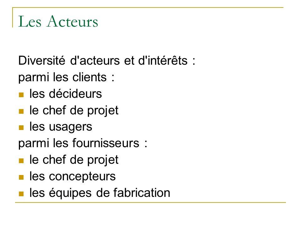 Les Acteurs Diversité d acteurs et d intérêts : parmi les clients :