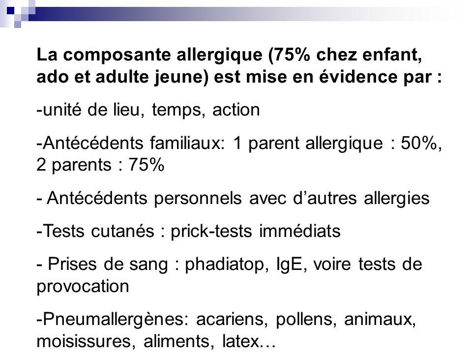 La composante allergique (75% chez enfant, ado et adulte jeune) est mise en évidence par :
