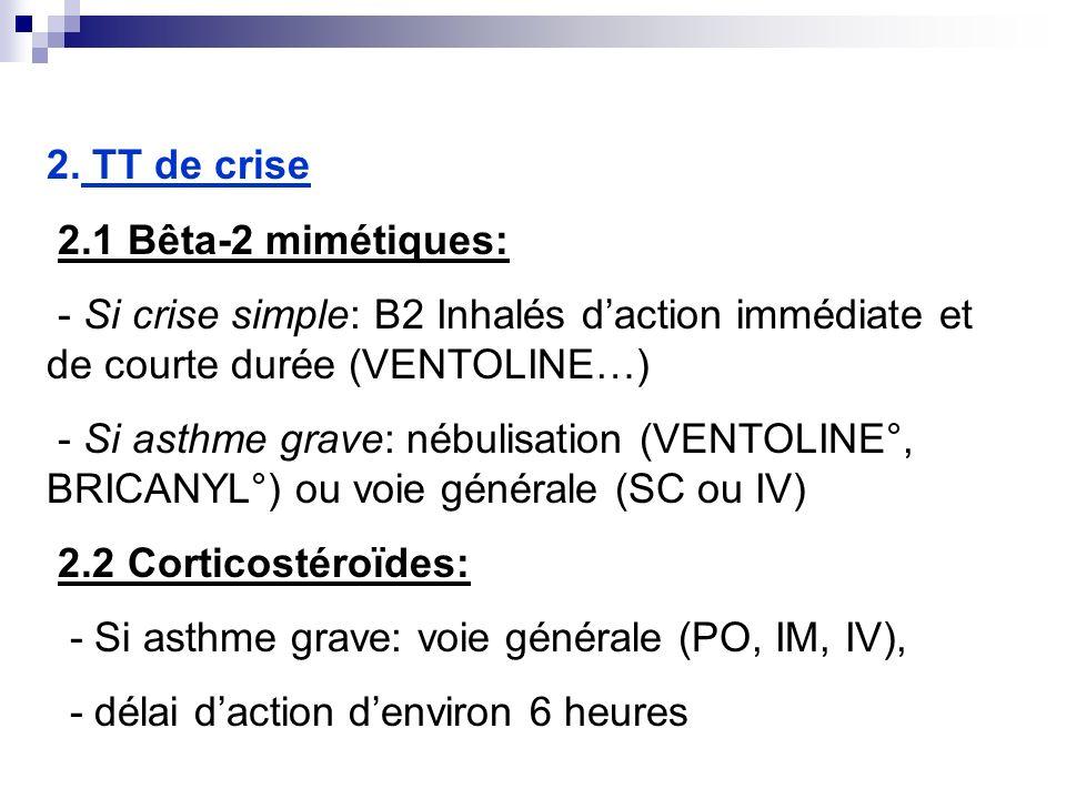 2. TT de crise 2.1 Bêta-2 mimétiques: - Si crise simple: B2 Inhalés d'action immédiate et de courte durée (VENTOLINE…)