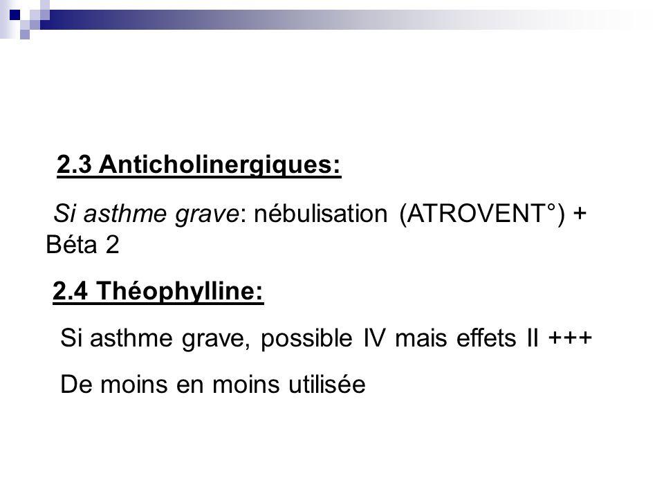2.3 Anticholinergiques:Si asthme grave: nébulisation (ATROVENT°) + Béta 2. 2.4 Théophylline: Si asthme grave, possible IV mais effets II +++