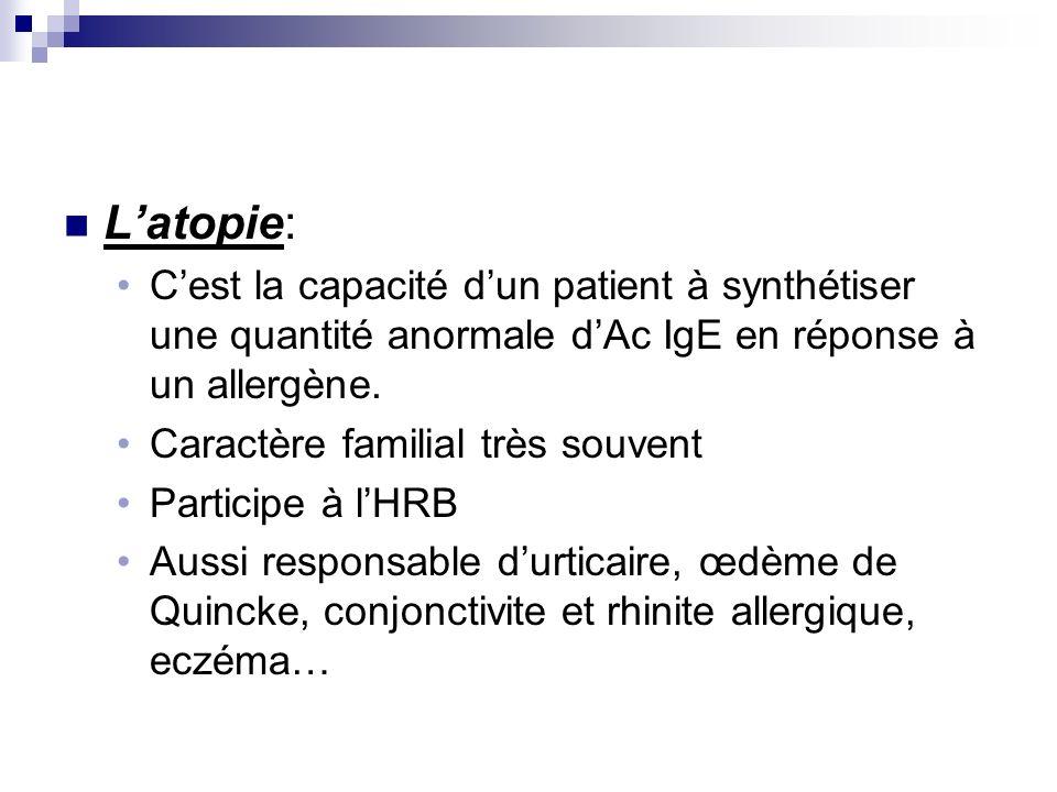 L'atopie:C'est la capacité d'un patient à synthétiser une quantité anormale d'Ac IgE en réponse à un allergène.