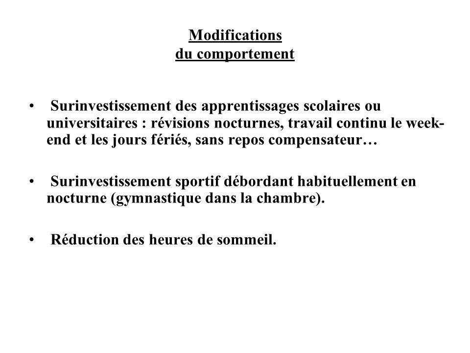 Modifications du comportement