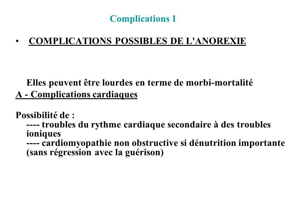 Complications 1 COMPLICATIONS POSSIBLES DE L ANOREXIE. Elles peuvent être lourdes en terme de morbi-mortalité.