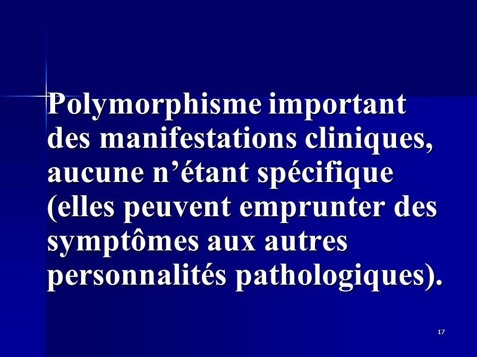 Polymorphisme important des manifestations cliniques, aucune n'étant spécifique (elles peuvent emprunter des symptômes aux autres personnalités pathologiques).
