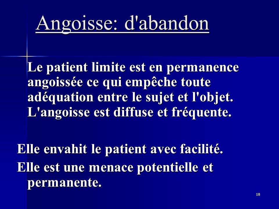 Angoisse: d abandon Elle envahit le patient avec facilité.