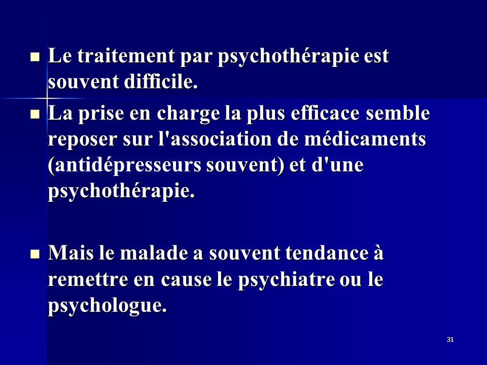 Le traitement par psychothérapie est souvent difficile.