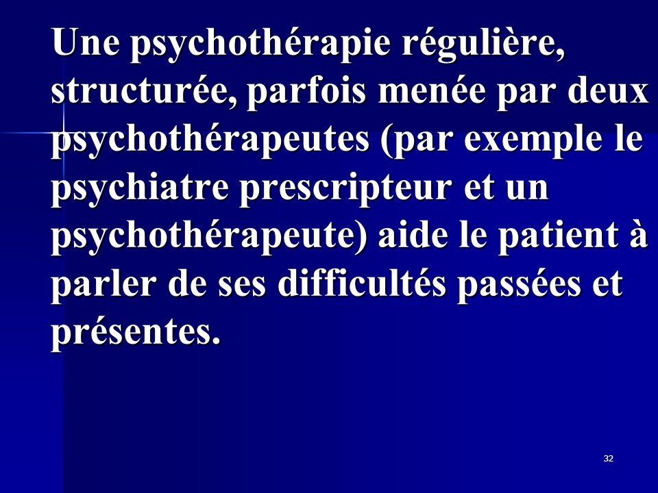 Une psychothérapie régulière, structurée, parfois menée par deux psychothérapeutes (par exemple le psychiatre prescripteur et un psychothérapeute) aide le patient à parler de ses difficultés passées et présentes.
