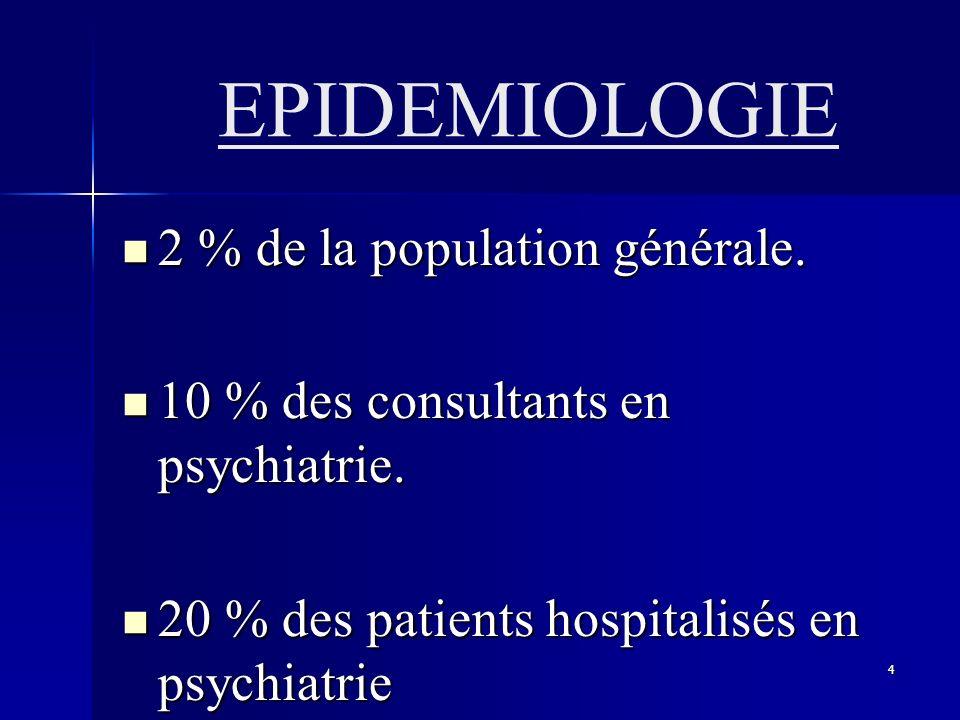 EPIDEMIOLOGIE 2 % de la population générale.