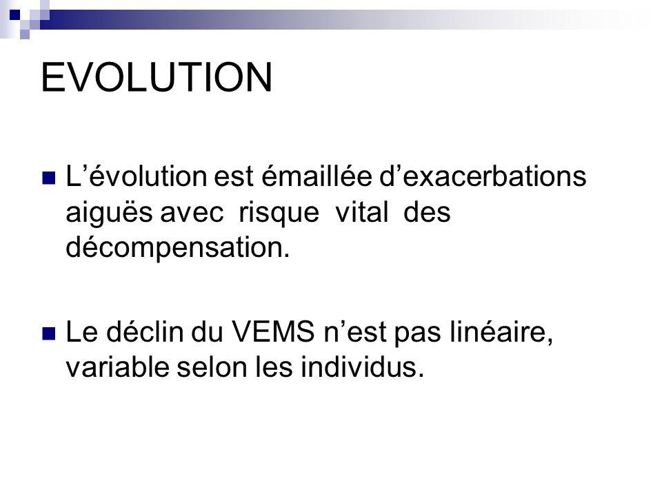 EVOLUTION L'évolution est émaillée d'exacerbations aiguës avec risque vital des décompensation.