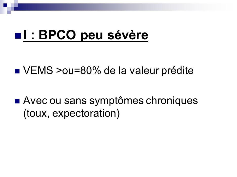 I : BPCO peu sévère VEMS >ou=80% de la valeur prédite