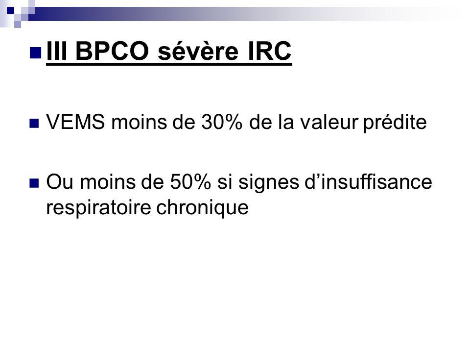 III BPCO sévère IRC VEMS moins de 30% de la valeur prédite