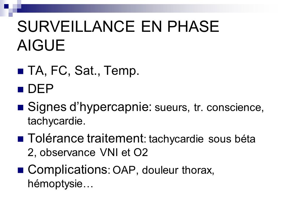 SURVEILLANCE EN PHASE AIGUE